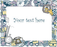 Frame with home related objects. Your text here. Hand drawn Royalty Free Stock Images