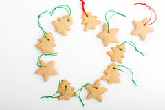 Frame of homemade christmas cookies with copy spase for holiday Stock Photos