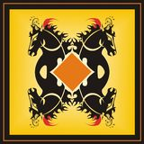 Frame with horses. Orange square with four stylized heads of horses Stock Image