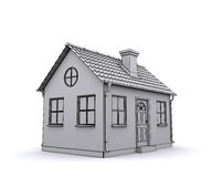 Frame house 3d model of a white. Rendering Stock Images