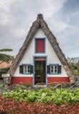 A-frame house and a blue sky, Santana, Madeira. Stock Photography