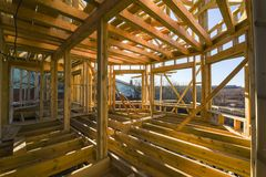 Frame house construction. House building. Construction industry stock photography