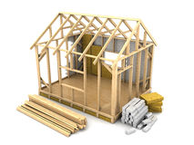 Frame house construction Royalty Free Stock Image
