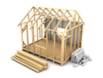 Frame house construction royalty free illustration