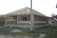 Frame house made of straw. Facade Stock Photo