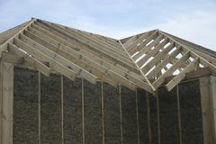Frame house made of straw. Stock Photo