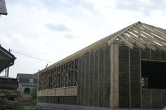 Frame house made of straw. Royalty Free Stock Images