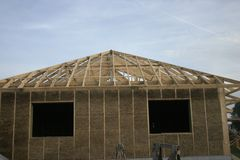 Frame house made of straw. royalty free stock photo