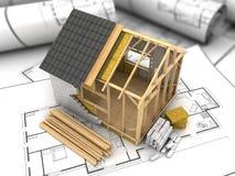 Frame house plan Stock Photo