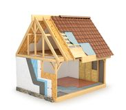 Frame house, which shows a scheme for installing hot walls and waterproofing roofs. 3d. Illustration Royalty Free Stock Photo