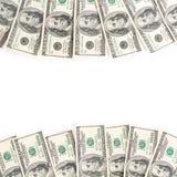 Frame of hundreds dollars isolated over white Stock Image
