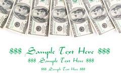 Frame of hundreds dollars isolated over white Stock Photo