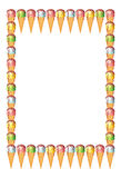 Frame with ice cream cones. Raster clip art Stock Image