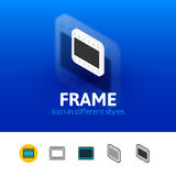 Frame icon in different style. Frame color icon, vector symbol in flat, outline and isometric style isolated on blur background Stock Photography
