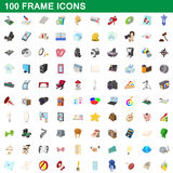 100 frame icons set, cartoon style Stock Photography
