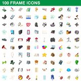 100 frame icons set, cartoon style. 100 frame icons set in cartoon style for any design illustration vector illustration