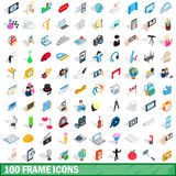 100 frame icons set, isometric 3d style. 100 frame icons set in isometric 3d style for any design vector illustration Stock Photos