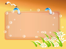 Frame Illustration. Colorful illustration of a frame with loops through the top, a seagull flying above, flowers below, and bubbles visible throughout Stock Photos