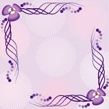 Frame illustration with flowers in pink colors Stock Image