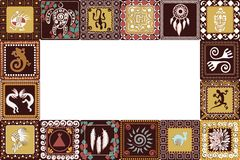 Frame with imitation of elements of rock art. Frame with squares pattern with imitation of elements of rock art of ancient Indians, Aztecs, cavemen Stock Photography