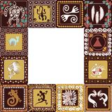 Frame with imitation of elements of rock art. Frame with squares pattern with imitation of elements of rock art of ancient Indians, Aztecs, cavemen Royalty Free Stock Photo