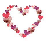 Frame In The Shape Of Heart Of Watercolor Hearts Of Different Colors And Textures. Stock Images