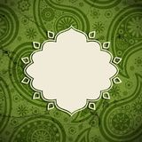 Frame in the Indian style on a grunge background. Frame in the Indian style on the grunge background with paisley pattern. Vector illustration. Eps10 royalty free illustration