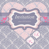 Frame for an invitation in pink. Used for the back Stock Images