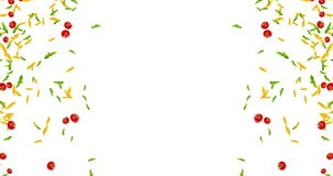 Frame of italian pasta animation, tomato and basil falling down on white background with space for text, loop seamless stock footage