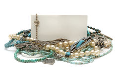Frame of jewelry: turquoise, pearls, platinum Stock Image