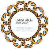Frame from jewels. Abstract round golden frame from jewels and place for your text royalty free illustration