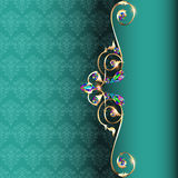 Frame with jewels and geometric designs in gold Royalty Free Stock Photography