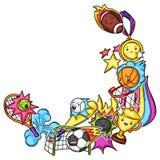 Frame with kawaii sport items.