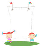 Frame with kids Royalty Free Stock Photo