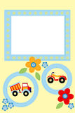 Frame for kids. Kids scrapbook with bike, truck and flowers, photo frame for children Stock Photography