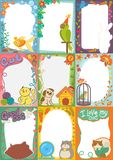 Frame kids photo vector picture of cartoon animals pets or birds on children photography border or kids photoframes Royalty Free Stock Photos