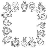 Frame with kids School, kindergarten. Happy children. Creativity, imagination doodle icons with kids. Play, study, grow Royalty Free Stock Photos
