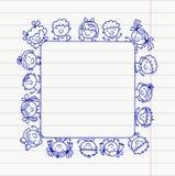 Frame with kids School, kindergarten. Happy children. Creativity, imagination doodle icons with kids. Play, study, grow Stock Photo