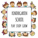 Frame with kids School, kindergarten. Happy children. Creativity, imagination doodle icons with kids. Play, study, grow Stock Images