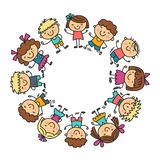 Frame with kids School, kindergarten. Happy children. Creativity, imagination doodle icons with kids. Play, study, grow Royalty Free Stock Image