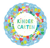 Frame for kindegarten banner with funny town, trees and birds Royalty Free Stock Photography