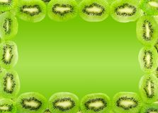 Frame of kiwi fruit slices isolated on a gradient green backgrou Stock Image