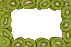 Frame of kiwi slices on a white Royalty Free Stock Photos