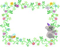 Frame of Koala Bear with Vines and Bug Friends Royalty Free Stock Photography