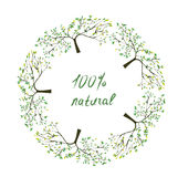 Frame or label with trees for natural eco products. Illustration Royalty Free Stock Photography