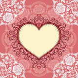 Frame with lace and heart Royalty Free Stock Photos