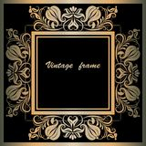 Frame with lace square ornament Stock Image