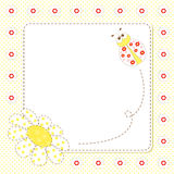 Frame with ladybug and chamomile Stock Images
