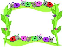 Frame of Ladybugs and Leaves Royalty Free Stock Images