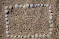 The frame is laid out on the sand from the shells, of different colors and shapes. Background. Frame. Copy space. There is a place for text. Postcard stock image
